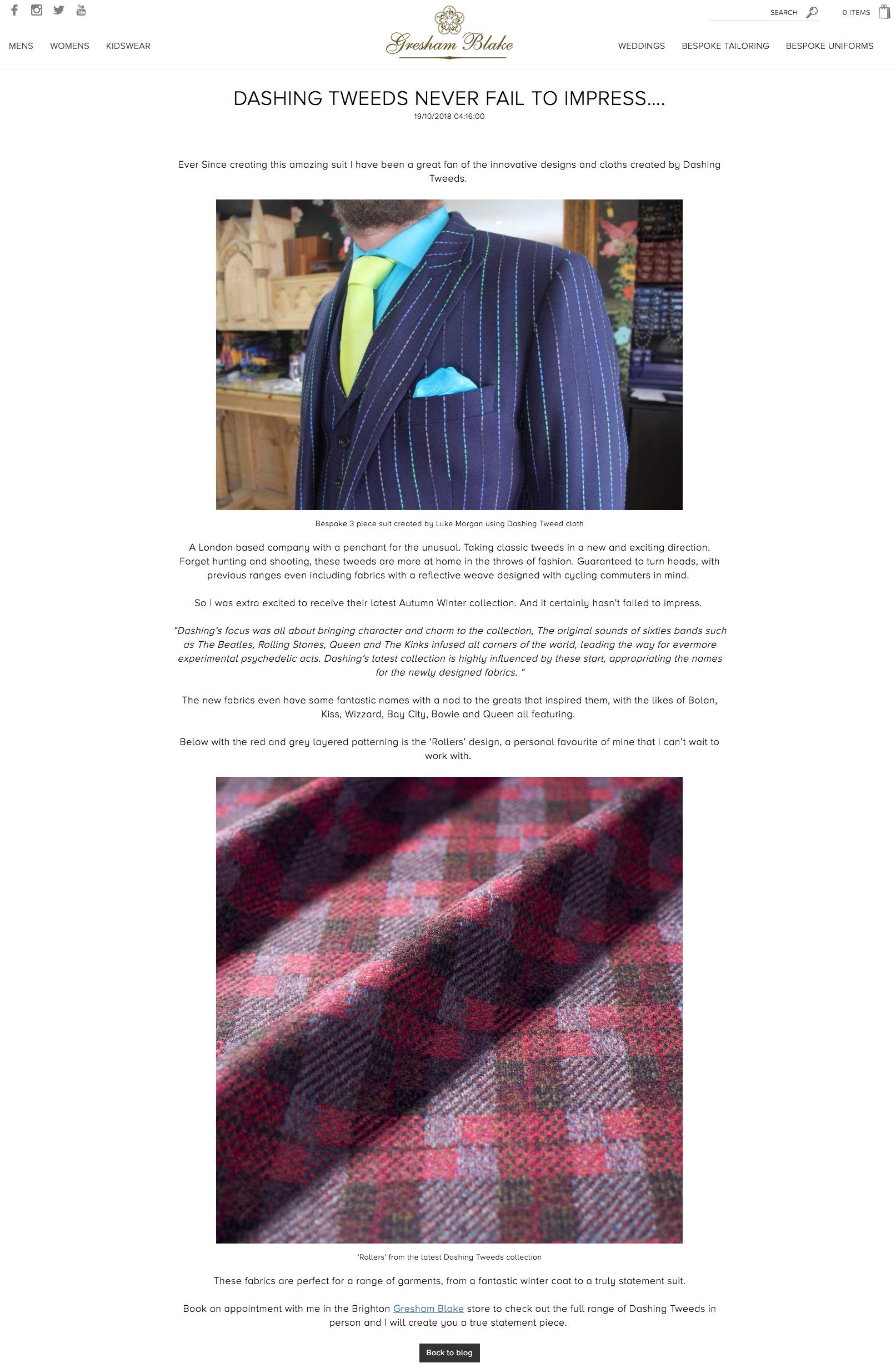 dashing tweeds, Gresham Blake, 47 Dorset street, menswear, tweed, tweeds, British tailoring, luxury, style